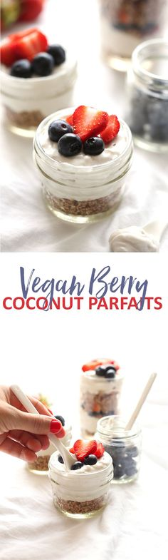 The perfect summer dessert recipe, these Vegan Berry Coconut Parfaits also make a fabulous addition to your 4th of July festivities! They're completely raw and super portable for your next summer party.