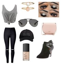 """""""Black & Tan"""" by ariel1516 on Polyvore featuring WithChic, Dolce&Gabbana, October's Very Own, NARS Cosmetics, Accessorize, GUESS and Donald J Pliner"""