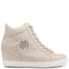 da8769fb457 Beige wedge sneaker with hidden heel and white sole. Features laces
