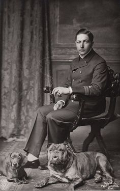 Prince Adalbert of Prussia son of Kaizer Wilhelm II, married to Princess Adelaide of Saxie-Meiningen (ca German Royal Family, Olde English Bulldogge, Navy Uniforms, Black And White Dog, Best Pal, Second Empire, Large Dog Breeds, Dachshund Love, Cat People