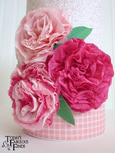 Cute project for Valentine's Day...covered box with crepe paper flowers (instructions included)