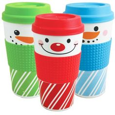 9 ct Christmas Gift Mugs : Snowman (Red, Blue & Green)