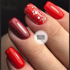 Маникюр | Nails Winter Nail Designs, Christmas Nail Designs, Nail Art Designs, Posh Nails, Red Nails, Autumn Nails, Winter Nails, Long Square Nails, Christmas Gel Nails