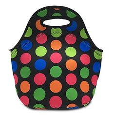 Mziart Neoprene Lunch Tote Insulated Lunch Box Food Container Reusable Lunch Bag for Women Girls Adults Kids Mom Cooler Bag (Large Colorful Dots). For product & price info go to:  https://all4hiking.com/products/mziart-neoprene-lunch-tote-insulated-lunch-box-food-container-reusable-lunch-bag-for-women-girls-adults-kids-mom-cooler-bag-large-colorful-dots/
