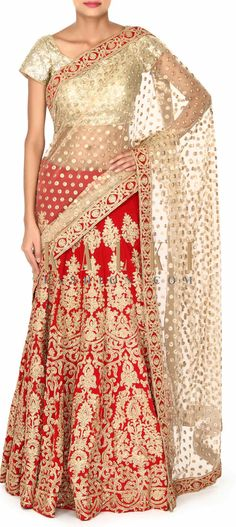 Buy this Beige and red lehenga Sari in zari embroidery only on Kalki
