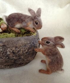 Needle Felted Cottontail Bunny Rabbit Baby by ClaudiaMarieFelt