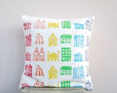Rainbow Houses Organic Pillow by Earth Lab