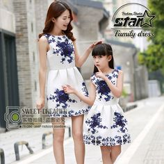 2016 Summer Dress Girl Mommy and Daughter Matching Family Clothes Baby Girl Clothing Flower Print Sleeveless Fashion Dresses