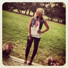 Jeggings, cropped denim vest, flowy cream top, and a bubble necklace