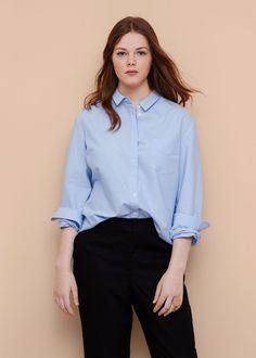 Camisa algodón bolsillo - Camisas Tallas grandes   Violeta by MANGO España