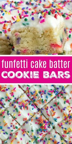 Funfetti Cake Batter Cookie Bars Dessert Recipe Cake Batter Funfetti Funfetti cake batter cookie bars are a sweet and tasty treat that only need 5 ingredients! So easy to make, loaded with colorful sprinkles, and tastes exactly like cake batter. Dessert Cake Recipes, Easy Cookie Recipes, Köstliche Desserts, Yummy Recipes, Sweet Recipes, Easy Birthday Desserts, Easy Kids Dessert Recipes, Fast And Easy Desserts, Colorful Desserts
