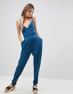 f3298987f7f ASOS Cami Wrap Front Jersey Jumpsuit with Peg Leg - Blue Jumpsuits For  Women