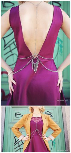 DIY Body Chain with a Gorgeous Back Tutorial from One O. This is a well thought tutorial with lots of photos of what chains go where. This is the first body chain I've seen with the drama in the back