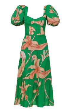 Culture Cotton Midi Dress by JOHANNA ORTIZ for Preorder on Moda Operandi Short Dresses, Summer Dresses, Tiered Dress, Daily Fashion, Hemline, Organic Cotton, Cold Shoulder Dress, Short Sleeves, Spring Summer