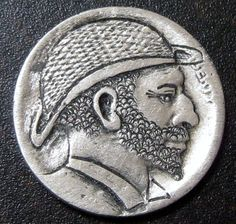 Very Detailed Hobo Buffalo Nickel Hand Carved Man in Hat with Beard T210 | eBay