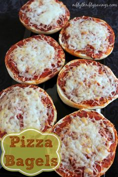 Frugal Pizza Bagels - my husband's fave- he's also used hamburger buns.... yummmmm  he uses cream chs instead of pizza sauce!!