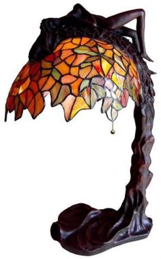 """""""Lady Sculpture Wisteria"""" Tiffany Style Stained Glass Table Lamp New 