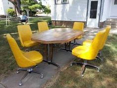 Vintage Mid Century Modern Chromecraft Table 6 Yellow Chairs Casters 1 Leaf '75 | eBay  Starting Bid: $749.99