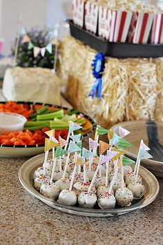 Country fair party theme with food on sticks and sack race type activities