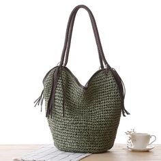 2017 Summer Beach Bag Women Manual Woven Knitted Tassel Straw Shoulder Bags Designer High Quality Casual Tote Shopping Bags