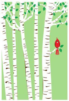 Screenprint Spring Cardinal - Birch Trees Bird Art Print Silkscreen Poster. $25.00, via Etsy.