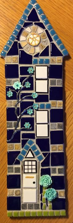 Hanging House Mosaic New Home Gift by WoodfordMosaics on Etsy