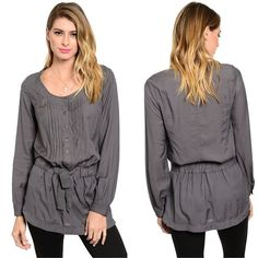 Love Grey Tunic - One word...gorgeous.  Tunic ties in front and drapes to flatter your body.  Best with leggings.  Small, medium and large.  - $34.99