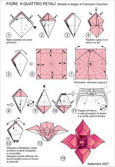 Guide to folding four-petal origami flower