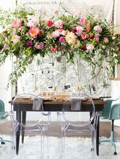 ~~ Hanging floral chandelier with greenery & peonies