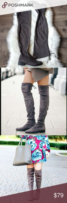 Catherine Malandrino over the knee boots Get ready for the colder weather in these new in box gorgeous Catherine Malandrino over the knee boots.  Featuring adjustable drawstring detail, side zipper, lightly padded footbed for comfort.  Faux suede material.  Absolutely gorgeous, chic an stylish! Smoke free and pet free home. Catherine Malandrino Shoes Over the Knee Boots
