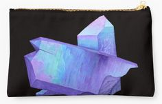 Purple crystal amethyst makeup bag studio pouch. Shop now: http://www.redbubble.com/people/marianamello/works/23611054-purple-crystal-amethyst-angel-aura-quartz-geode?asc=u&p=pouch&rel=carousel