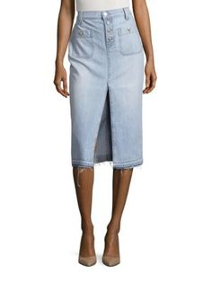 7 FOR ALL MANKIND Exposed Button Long Skirt With Released Hem. #7forallmankind #cloth #hem