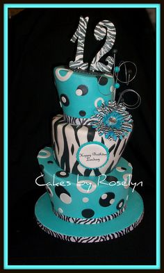teal and zebra print by Cakes By Roselyn