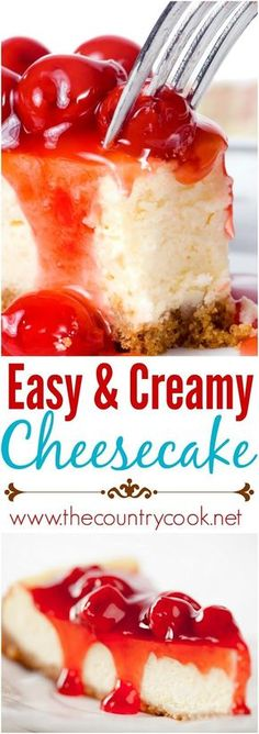 Easy Cheesecake recipe from The Country Cook - for FODMAP friendly, substitute to sugar for dextrose, use Gluten free crust, if applicable desserts cheesecake EASY AND CREAMY CHEESECAKE (+Video) Easy Cheesecake Recipes, Easy Cookie Recipes, Easy Desserts, Delicious Desserts, Dessert Recipes, Keto Cheesecake, Homemade Cheesecake, Cheesecake Recipe Using Sour Cream, Dinner Recipes