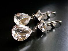 Swarovki Clear Crystal Dangling Earrings on by LeBoudoirNoir, $55.00