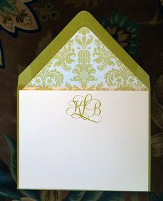 Lime Monogrammed Stationery  paperandpostshop.com