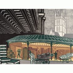 V Victoria Albert Museum > Main Section > Shop by theme > Edward Bawden > 'Borough Market' by Edward Bawden (Giclée Print)