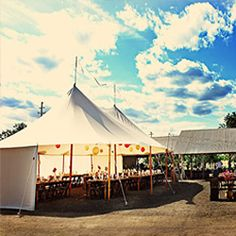 Open tent and furniture rentals can elevate your outdoor country farm wedding to an elegant affair with just a couple of phone calls! Heizer
