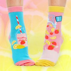 Lemons and strawberries, yellows and blues. These zany socks are especially for little you! Silly Socks, Funky Socks, Cool Socks, Ankle Socks, Tween, Strawberries, Blues, Yellow, Collection
