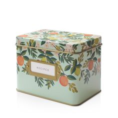 Bring a touch of springtime flair to your countertop while keeping your famous chocolate chip cookie recipe safe and sound with this sweet recipe tin, featuring a gold metallic interior and front labe