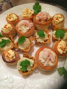1930's vintage style vol au vents with crab and prawns and egg mayo at a themed party
