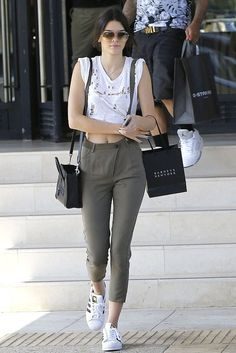 Kendall Jenner wearing Celine Nano Bag, Adidas Superstar Sneakers and Dita Talon Sunglasses in Satin Tan/12k Gold