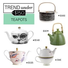 """Trend Under $150: Teapots"" by polyvore-editorial ❤ liked on Polyvore featuring interior, interiors, interior design, home, home decor, interior decorating, Wedgwood, Marimekko, Rory Dobner and Pier 1 Imports"