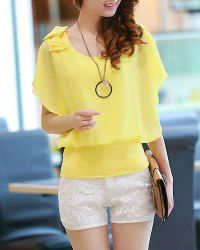 $8.17 Stylish Scoop Neck Short Sleeve Flounced Chiffon Blouse For Women