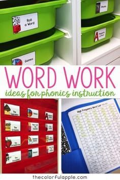 So many ideas for word work in the elementary classroom! Great activities, centers and organizational tips for spelling. Library Lessons, Reading Lessons, Teaching Reading, Guided Reading, Word Work Activities, Phonics Activities, Language Activities, Physical Activities, Learning Activities
