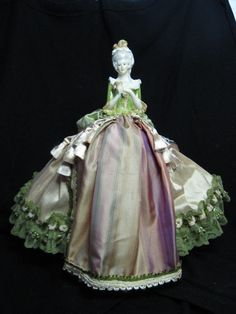 New Porcelain Half Doll Pincushion doll in golden peach and sage silk with Dresden embellishments