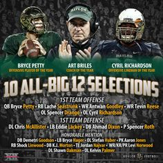 10 of this year's 29 All-Big 12 football selections have something in common: They're #Baylor Bears. #SicEm