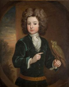 Date:1800 - 1820 (c.)    Description: Portrait of a boy wearing a dark green jacket and a white tie collar shirt. Sky and trees are depicted in the background to the left. A parrot is sitting on his left hand. Portrait of Thomas Whitby of Haywood Abbey, Great Haywood. Gilt picture frame.     Artist: Michael Dahl I (1656/1659-1743).    Thomas Whitby (1531-1621) aquired Shugborough. His son John Whitby sold Shugborough to the Anson family in 1624 and purchased Haywood Abbey, Great Haywood…