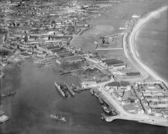 c Aerial view of Footdee and the Pocra Quay jetty-part of the Hall Russell shipyard. Old Pictures, Old Photos, Aberdeen Harbour, Aberdeen Scotland, Engineering Works, Granite City, City By The Sea, Silver City, York Street
