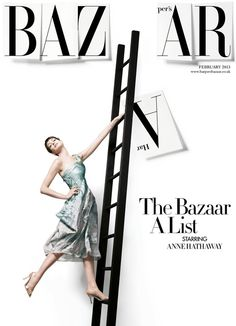 The February issue of Harper's Bazaar sees a recreation of the classic 1959 Richard Avedon cover shot, this time starring Anne Hathaway captured by David Slijper.